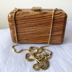 French Connection Wood Minaudiere Clutch